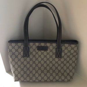 GUCCI Coated Canvas/Leather GG Monogram Tote Bag